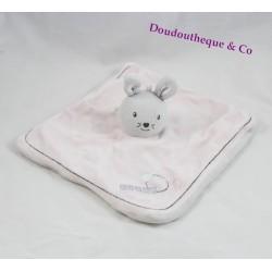 Doudou plat lapin BÉBÉ 9 brodé amour rose et gris 22  cm
