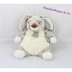 Doudou lapin HISTOIRE D'OURS Les Z'animoos gris marron blanc 23 cm