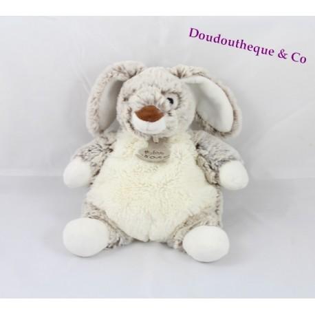 Doudou lapin HISTOIRE D'OURS Les Z'animoos gris blanc 23 cm