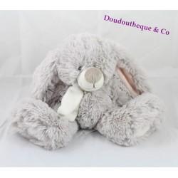 Peluche lapin J-LINE assis gris blanc poils longs J Line 30 cm