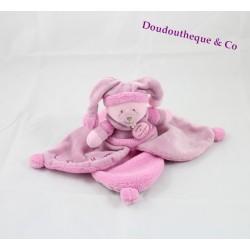 Doudou macaron Ours DOUDOU ET COMPAGNIE pétale de rose violet douceur