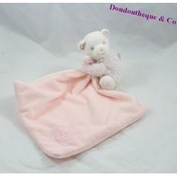 Doudou mouchoir ours KALOO Perle rose 12 cm