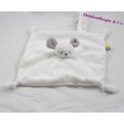 Doudou flat mouse IDEAL PROMOTION Sergeant Major white gray knot 20 cm