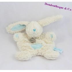 Doudou rabbit flat BABY NAT' blue white hugs cross belly BN742