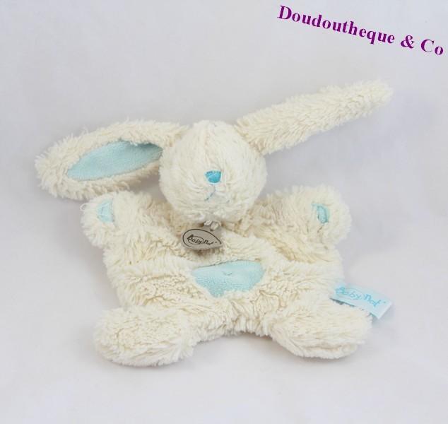 doudou plat lapin baby nat 39 les c lins blanc bleu croix ventre bn74. Black Bedroom Furniture Sets. Home Design Ideas