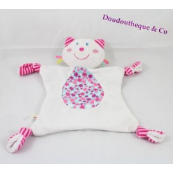 Doudou flat cat P' little Kiss AUBERT pink and white flowers 30 cm Bell