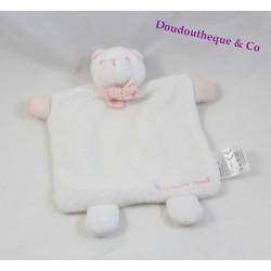 Doudou plat ours JACADI blanc rose noeud papillon 20 cm