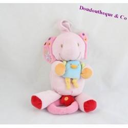 Doudou musical éléphant BEBEREVE CASINO rose oiseau 24 cm