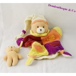 Doudou marionnette ours DOUDOU ET COMPAGNIE bébé poche marron blanc