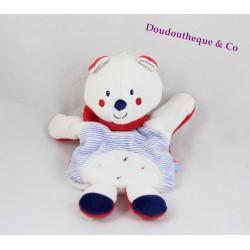 Doudou marionnette ours SUCRE D'ORGE rayé bleu blanc écharpe rouge