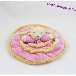 Doudou plat Ours KALOO Lollies spirale rose orange vert rond 24 cm