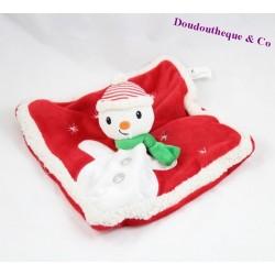 Doudou plat bonhomme de neige NICOTOY noel rouge blanc 22 cm