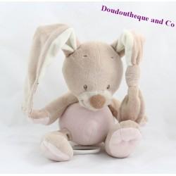 Musical Doudou rabbit NATTOU funny pink beige 22 cm