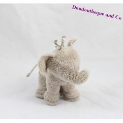 Doudou éléphant TARTINE ET CHOCOLAT gris / beige 15cm