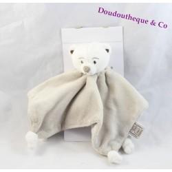 Doudou plat ours Théo et Inès beige blanc 4 noeuds 26 cm