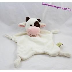 Doudou plat vache LES PETITES MARIE blanc marron noeud 30 cm