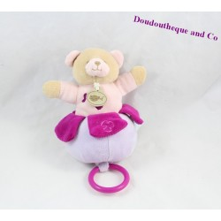 Doudou musical ours BABY NAT rose violet 17 cm