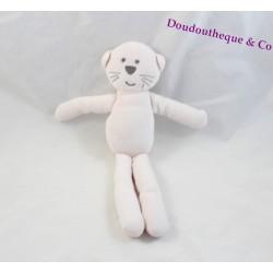 Doudou chat BOUT'CHOU Monoprix rose pâle gris 28 cm