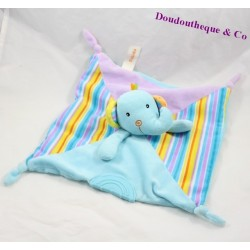 Doudou plat éléphant BABIDU bleu grelot noeud 26 cm