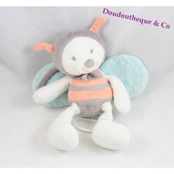 Musical plush bee NATTOU Bubbles orange gray blue 24 cm