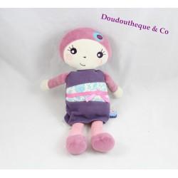 Doudou poupée SUCRE D'ORGE fille mauve rose violet 27 cm