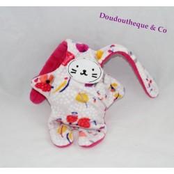 Doudou double face lapin CATIMINI rose fleurs réversible 35 cm