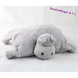 Peluche coussin hippopotame OBAIBI Pour t'apprendre la tendresse gris 26 cm