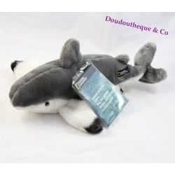 Peluche requin NATIONAL GEOGRAPHIC gris blanc poisson 30 cm