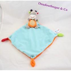 Doudou plat âne cheval zèbre OUATOO LOGITOYS orange bleu 44 cm
