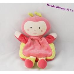 Doudou marionnette coccinelle SUCRE D'ORGE poupée fille pois rose vert 24 cm