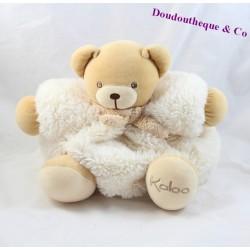 Doudou patapouf ours KALOO fourrure blanc écharpe marron 25 cm