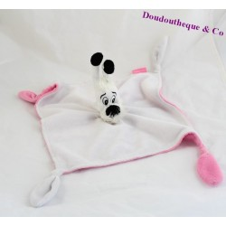 Doudou flat dog Dogmatix Park ASTERIX white and pink 4 knots 28 cm