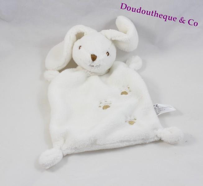 doudou plat lapin nicotoy blanc empreinte beige rectangle 24 cm s. Black Bedroom Furniture Sets. Home Design Ideas