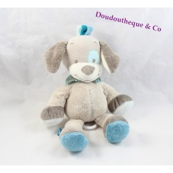 Plush musical Cyril dog NATTOU Gaston and Cyril blue turquoise gray train