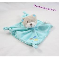 Doudou flat bear TEX BABY cloud blue green Carrefour 18 cm
