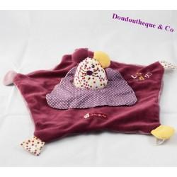 Doudou plat souris Suzi SAUTHON Les Zigotos violet 33 cm