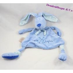 Doudou plat lapin CMP P'tit lapin bleu écharpe 33 cm