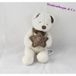 Doudou musical ours SIMBA TOYS blanc marron étoile 25 cm
