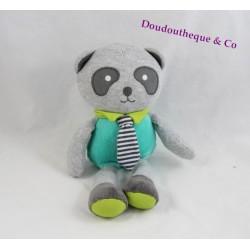 Peluche panda OBAIBI gris vert cravate rayée grelot 25 cm