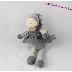 Peluche, doudou âne HISTOIRE D'OURS gris collection Les Fripons 29 cm