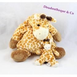 Peluche girafe CMP beige tâches orange + bébé girafe porte clés