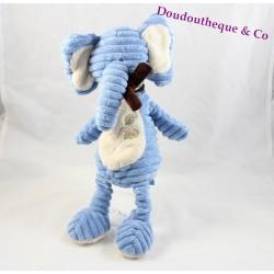 Peluche éléphant TEX BABY bleu écharpe marron Carrefour 35 cm