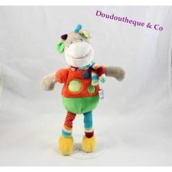 Doudou vache MOTS D'ENFANTS gris écharpe multicolore pois 30 cm