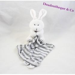 Doudou lapin LES CHATOUNETS mouchoir blanc gris rayé