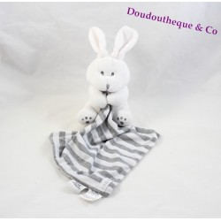 Doudou rabbit the CHATOUNETS striped gray white handkerchief