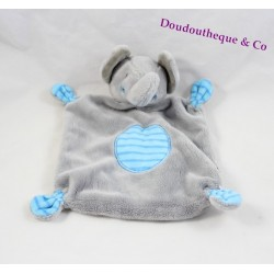 Doudou flat round blue gray Gemo elephant striped 26 cm