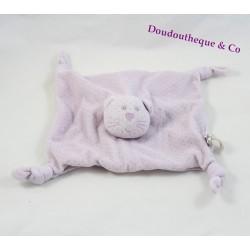 Doudou plat chat BOUT'CHOU mauve pois violet Monoprix 4 noeuds 22 cm