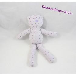 Doudou chat BOUT'CHOU mauve étoiles violet Monoprix 29 cm