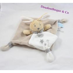 Doudou plat Perlim lapin BABY NAT' Perle et Perlim gris beige blanc 25 cm