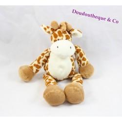 Doudou girafe NICOTOY beige tâches marron 23 cm